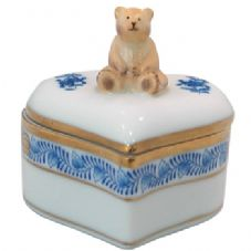 Herend Heart Shaped Fancy Box with Teddy Bear - Blue